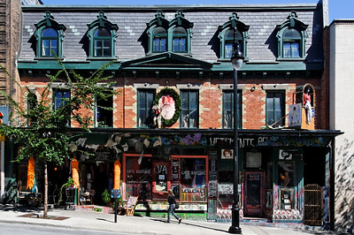 Street detail, Rue St. Laurent in Montreal, Quebec, Canada.