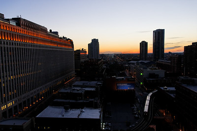Thanks to Carol Wilson, we had a place to hang out while we waited for the next train from Chicago, Illinois to Buffalo, NY. This is the view at sunset from the balcony at her condo on La Salle St.