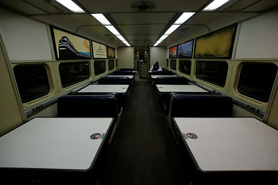 Inside the dining car of the Amtrak to Buffalo.