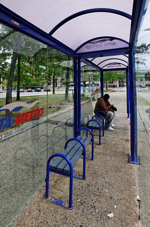 """NAFTA METRO has nice shelters, too. We are waiting for the """"B"""" bus, not the P or A or C - they don't go all the way to the airport..."""