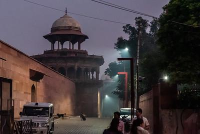 Outside the Taj Mahal before dawn