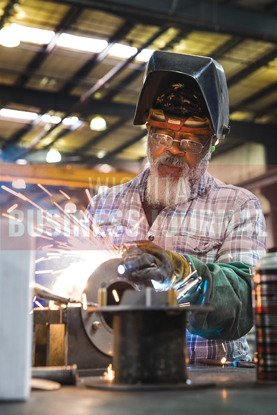LaDon Johnson, 66, tack welds metal together Tuesday afternoon at JR Custom Metal. Johnson has been with JR Custom Metal for 24 years and plans to retire sometime in the next year.