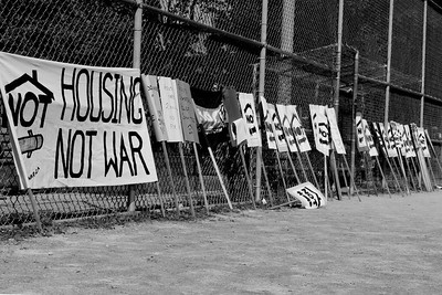 Housing Not War protest
