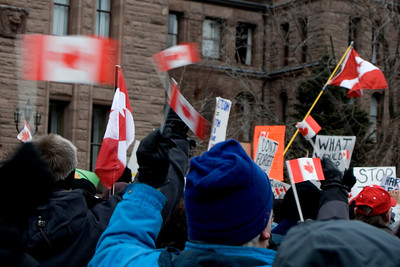Rally for Canada.  Flag wavers