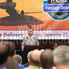 Lawrence Lawson, CEO of Spirit AeroSystems, thanks the Spirit AeroSystems team that worked on the Bell V-280 Fuselage. Bell excepted delivery of the V-280 fuselage, completed ahead of shedule, Tuesday morning at Spirit AeroSystems.