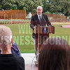 Wichita Mayor Jeff Longwell conducts his weekly media briefing Thursday morning from the Paula and Barry Downing Amphitheater to help commemorate the opening of the Wichita Art Museum's $3.5 million Art Garden.