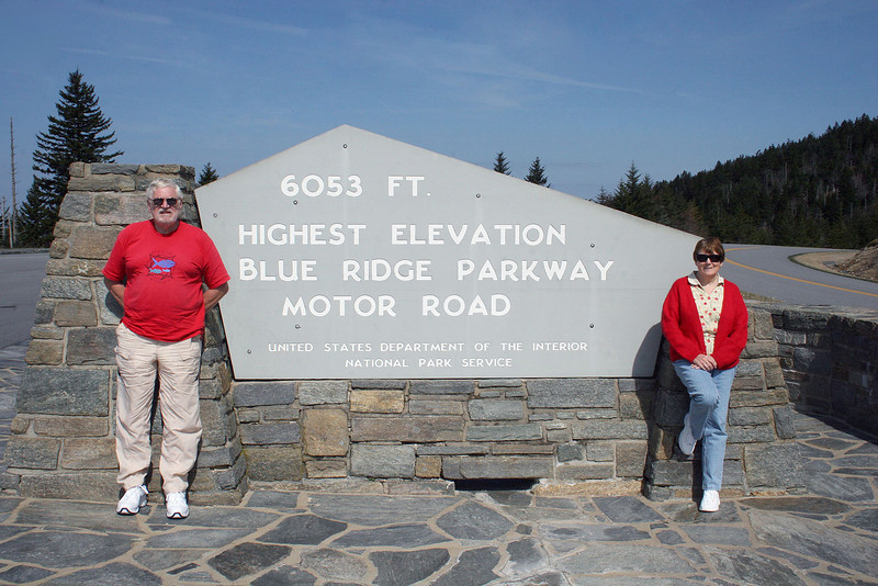 Mike and Susan at the highest elevation on the Blue Ridge Parkway
