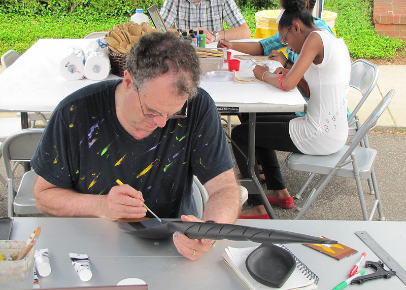 There were lots of tables with various crafts people could try their hands at.