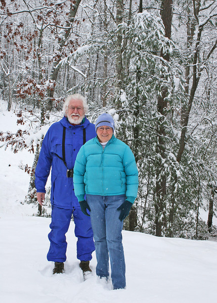 Mike and Susan all bundled up to go explore the neighborhood the day after Christmas