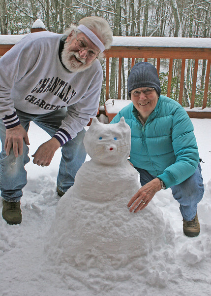 Mike and Susan making a snow cat