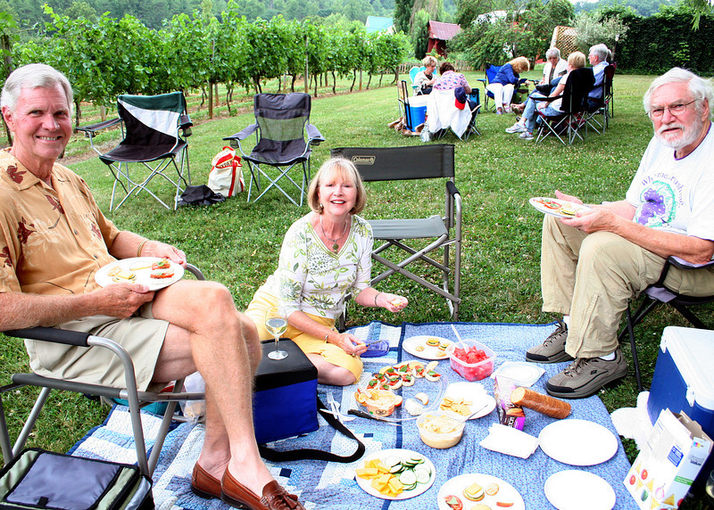 7/3/10 - Charlie, Judy and Mike at Crane Creek Vineyards in Young Harris, GA