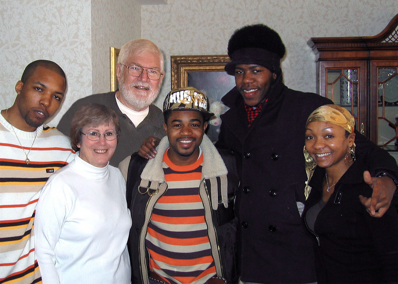 "Today we met Chris ""Kharma Kazi"" Rolle and Robin ""Kheperan"" Kearse with The Hip Hop Project.  Left to right back:  Chris, Mike and Chris.  Left to right front:  Susan Kazi and Kheperan"