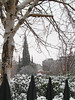 Princes Street Gardens and a snowy Scott Monument