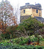 The organic vegetable garden and a view of the tower