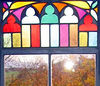 Stained glass window in one of the tower rooms