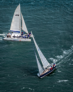Sail boat racing at The Golden Gate Bridge, San Francisco, California - 03