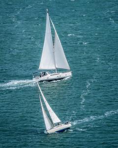 Sail boat racing at The Golden Gate Bridge, San Francisco, California - 01