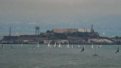 Sail boat races around Alcatraz