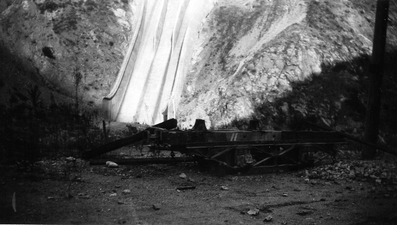 Abandoned San Gabriel Canyon Railroad gravel car at the base of Morris Dam in San Gabriel Canyon circa 1935.<br /> <br /> Photographer Ernest M Leo