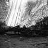 Abandoned San Gabriel Canyon Railroad gravel car at the base of Morris Dam in San Gabriel Canyon circa 1935.<br /> <br /> Photographer Ernest M Leo