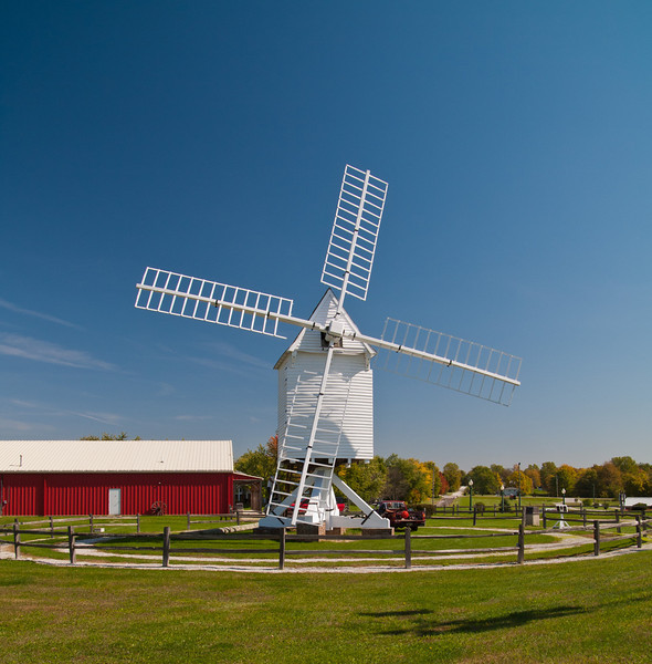 Mid-America Windmill Museum: A highlight of the museum is this replica of the first windmill in North America.  It is a Robertson post windmill, a single stone grist mill with a 52 foot diameter wind wheel. The original Robertson was shipped from England and erected on the James River near Jamestown, VA in the 1620s.