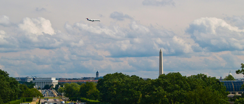 A panorama of Washington DC, taken from the Arlington National Cemetery.  From left to right: the Lincoln Memorial, the tower of the Old Post Office, the Washington Monument (which Bill Maher says should be named the Bill Clinton monument - not sure I want to get into that here), and at the very right, the dome of the US Capitol.  One reason you may find this interesting is that the zoning laws in DC prohibit building any building taller than the dome of the US Capitol.  That law has been enforced well, so in that way DC is a very special city.  Of course, the law does not apply to jet aircraft...