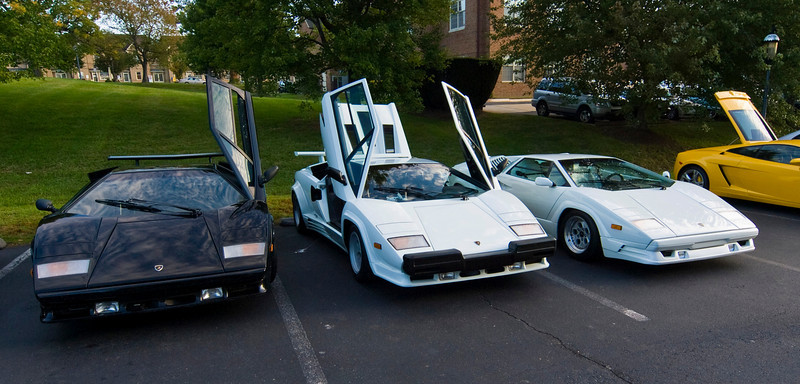 Three Lamorgini Countachs: 1987, 1988, 1nd 1989 (left to right)