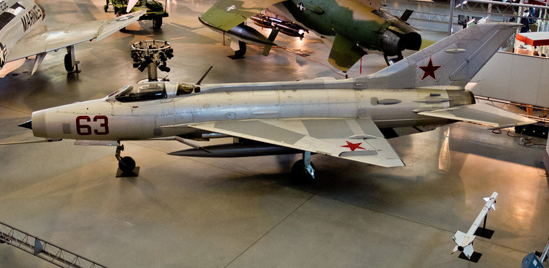 A MIG 21, the supersonic fighter that had the longest production run of any combat aircraft (1959 to 1985 over all variants).  This one is a MIG 21F.