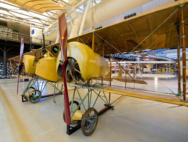 A Caudron G.4, a French biplane with twin engines that was widely used during WWI as a bomber aircraft.  This particular airplane is the only multi-engine WWI combat airplane still in existence.