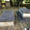 """The two Andre family chest tombs. I will designate them """"left"""" and """"right"""" as viewed from the church building."""