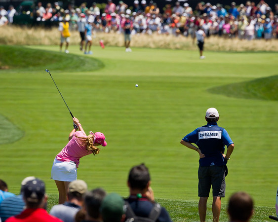 Paula Creamer hits her tee shot on the 2nd hole in the US Women's Open at Oakmont Country Club 7.11.2010 (EquiSport Photos)