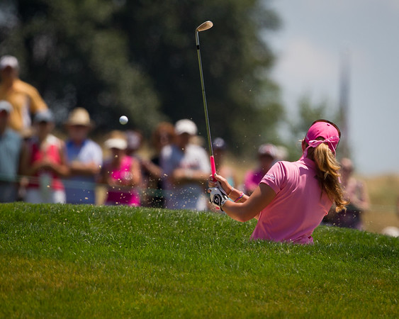 Paula Creamer blasts from the bunker on the 6th hole in the US Women's Open at Oakmont Country Club 7.11.2010 (EquiSport Photos)