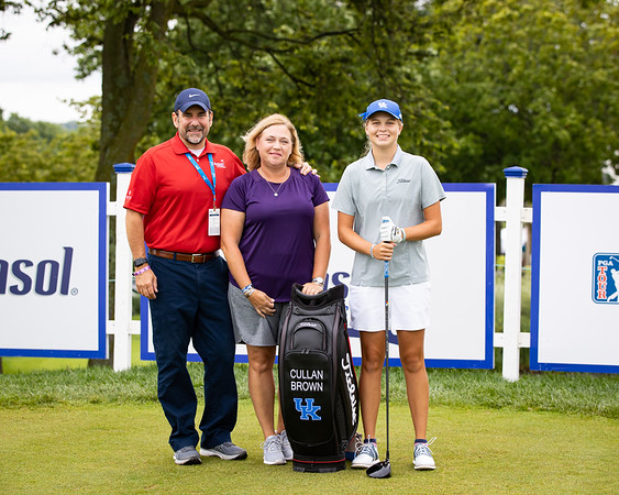 Cathryn Brown starts Barbasol's weekend play with a ceremonial tee shot on #1, 7.17.21