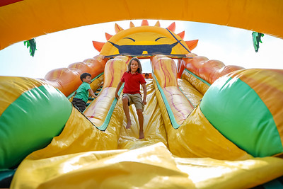 Kids on the inflatable slide