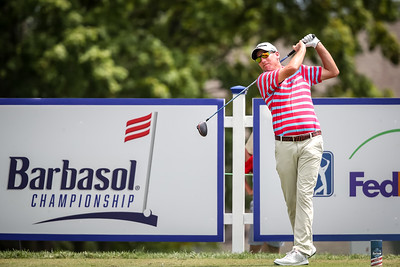 Jim Herman tees off on the first hole of the Barbasol Championship