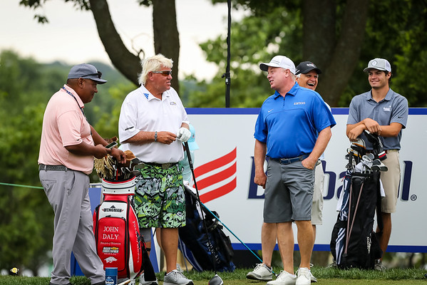 John Daly, Coach Stoops and Evan Mossbarger at the Pro-Am 7.17.19