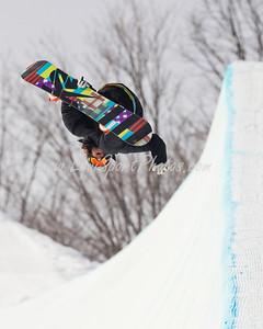 A snowboarder for Team Spain, practicing at the Otsego Club in Gaylord Michigan 02.04.2010