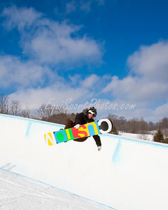 A snowboarder for Team Finland, practicing at the Otsego Club in Gaylord Michigan 02.04.2010
