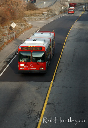"OC Transpo bus on the Ottawa Transitway system at Westboro station and shot from the Churchill Avenue Bridge. This part of the transitway along Scott Street in Ottawa is locally known as ""the ditch"".  © Rob Huntley"