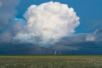 Several cloud-to-ground lightning bolts strike the High Plains near Turkey, TX, on April 21, 2010.