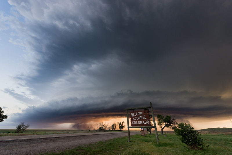 A supercell thunderstorm races east towards Colorado's border with Kansas on the evening of June 21, 2019.