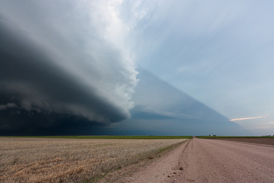 A supercell near Dalton, NE, casts a shadow over the barren landscape on June 5, 2009.
