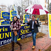 New Hampshire Governor Chris Sununu and his wife Valerie are greeted by supporters as they cast their vote at the Newfields Town Hall in the 2018 election on Tuesday 11-6-2018, Newfields NH.  [Matt Parker/Seacoastonline]
