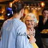 Ellie Whitney greets Kitty Malloy with a smile as co-workers and friends wished Ellie well for her retirement after her 44 years at the Galley Hatch restauarnt on Monday at Tinos Greek Kitchen/Galley Hatch Restaurant on 4-30-2018, Hampton, NH.  Matt Parker Photos