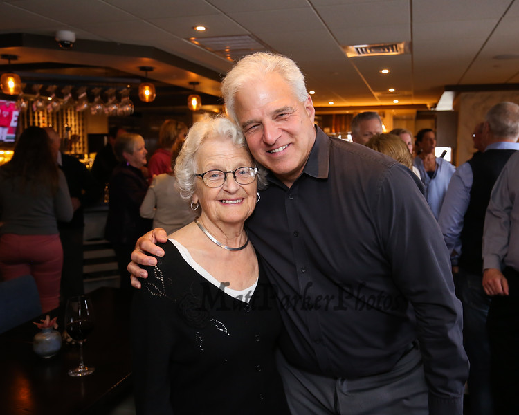Long time employee Ellie Whitney with owner John Tinos pose for a photo at Ellie's retirement after 44 years with the Galley Hatch Restaurant on Monday at Tinos Greek Kitchen/Galley Hatch Restaurant on 4-30-2018, Hampton, NH.  Matt Parker Photos