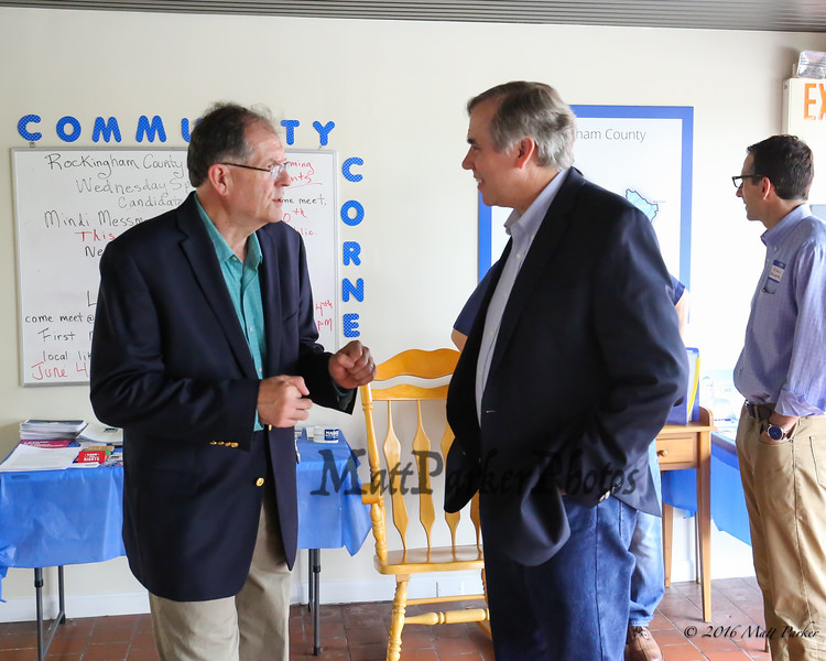 Mark Vallone, Treasurer of the Rockingham County Democrats, greets Oregon's US Senator Jeff Merkley to their office in Exeter on Sunday Sunday, May 20, 2018 [Matt Parker/Seacoatonline]