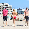 "22 year old Cheyenne Olson of Vermont participated in the Hampton Beach ""Go Topless Day"" seen here walking with her friends Adrian and Ryan Brower also of Vermont on Sunday 8-26-2018 at Hampton Beach, NH.  Matt Parker Photos"