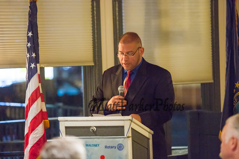 Guest Speaker, Jameson Ayotte, Chief, Hampton Fire and Rescue, The Rotary Club of Hampton presents the 2019 Distinguished Citizen of the Year to Michael McMahon on Thursday 11-14-2019 @ The Galley Hatch, Hampton NH.  Matt Parker Photos