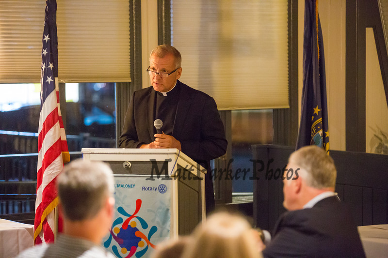 Rev. Gary Kosmowski, Pastor, OLMM Parish, The Rotary Club of Hampton presents the 2019 Distinguished Citizen of the Year to Michael McMahon on Thursday 11-14-2019 @ The Galley Hatch, Hampton NH.  Matt Parker Photos