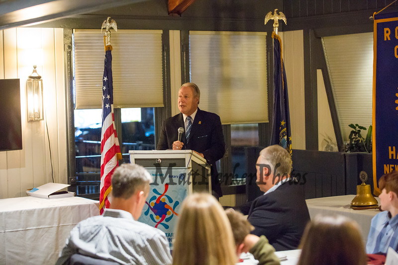 Introduction, Geoffrey Merrill, Vice-President, The Rotary Club of Hampton presents the 2019 Distinguished Citizen of the Year to Michael McMahon on Thursday 11-14-2019 @ The Galley Hatch, Hampton NH.  Matt Parker Photos
